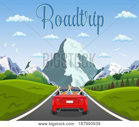 highway drive with beautiful landscape. Travel road car view. happy free couple in car driving with arms raised. vector illustration in flat design