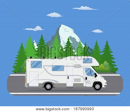 Road travel trailer driving on forest area road. Family traveler truck summer trip concept. Camper on road trip. vector illustration in flat design