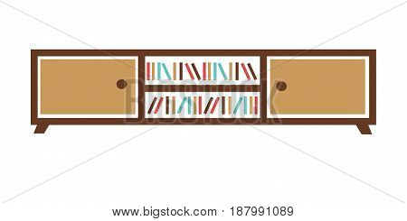 Vector illustration of stand with different books isolated on white.