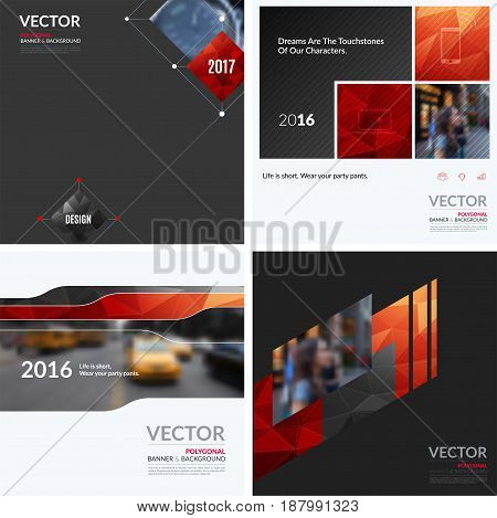 Business vector design elements for graphic layout. Modern abstract background template with red squares, triangles, diagonal geometric shapes for tech in clean minimal style.