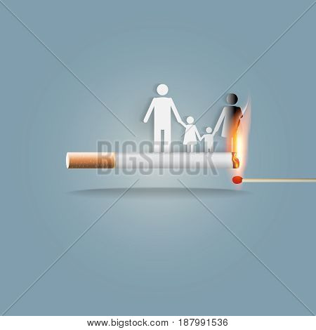 World no tobacco day, 31 May, a concept for stop smoking. Smoking a cigarette can kill everyone in family. Vector illustration.