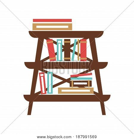 Vector illustration of small wooden furniture with books on the white background.
