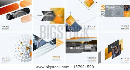 Business vector design elements for graphic layout. Modern abstract background template with yellow squares, triangles, diagonal geometric shapes for tech in clean minimal style.