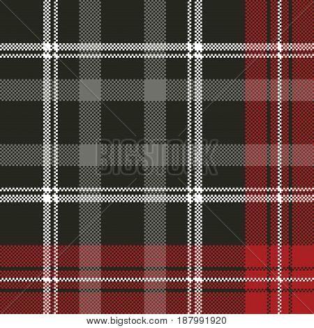 Tartan pixel plaid seamless fabric texture. Vector illustration.