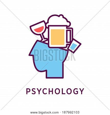 Vector illustration of alcohol addicted head and psychology word on the white background.