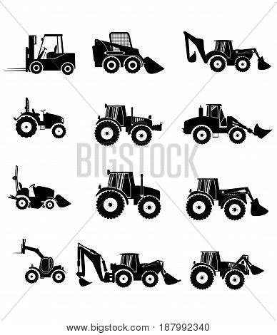 collection tractor and gray silhouettes. sign icons