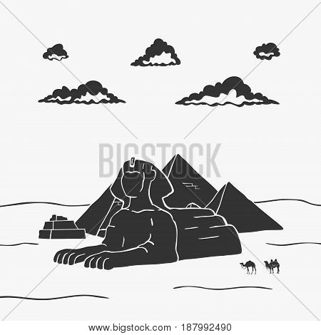 Egyptian Pyramids And Camels Vector Illustration eps 8 file format