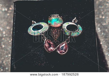 White Fire Opal Jewelry Set