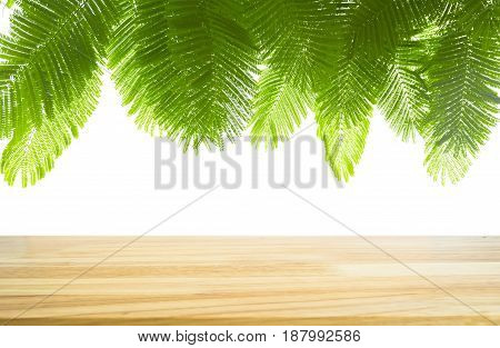 Wooden table and green leaf for background. Empty table for display product.