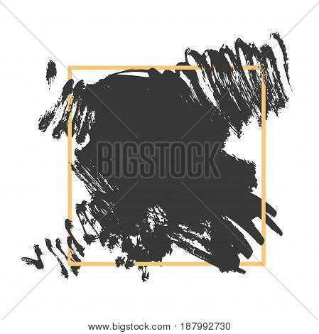 Vector splash in a frame, hand drawn painted grunge banner inside yellow square, modern grunge brushed poster