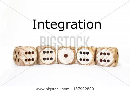 integration symbolic display with different dices, isolated