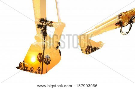 Double exposure backhoe and sugar palm trees on sun set isolated white background.