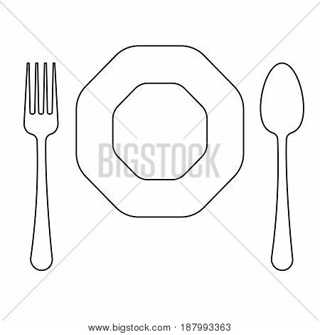 Vector drawing of thin line fork octagonal plate and knife flat line icon