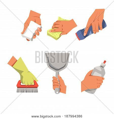 Vector illustration of the hands during the different house cleaning procedures isolated on white.