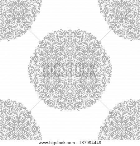 Seamless classic light silver pattern with round elements. Traditional orient ornament. Classic vintage background