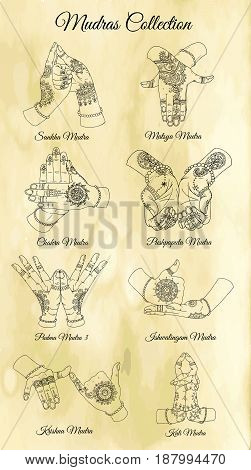 Hand drawn collection with mudras on two hands on textured background. Vector mudras with mehndi henna patterns on hands, ethnic hindu ornament