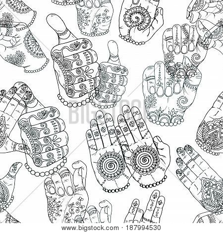 Seamless background with hand drawn mudras on white. Vector mudras with mehndi henna patterns on hands, ethnic hindu ornament