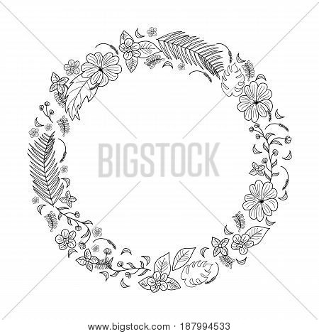 Card with frame of flowers and tropical, black silhouette