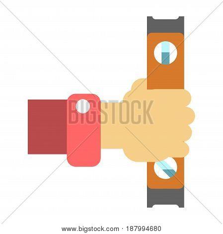 Vector illustration of hand holding carpenter's level on the white background.