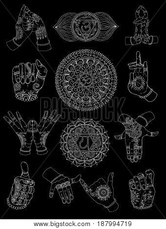Hand drawn set with chakras and mudras on black. Vector mudras with mehndi henna patterns on hands, ethnic hindu ornament