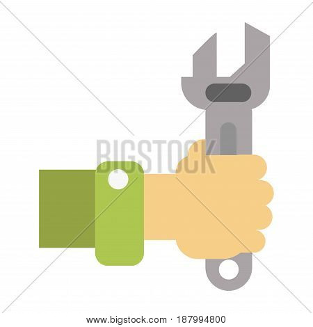 Vector illustration of hand holding wrench for repairing works isolated on white.