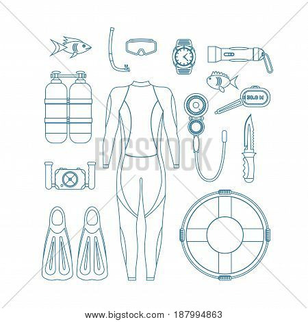 Diving Equipment Thin Line Set. Mask and Snorkel or Scuba, Flippers and Suit for Swimming Design Style. Vector illustration