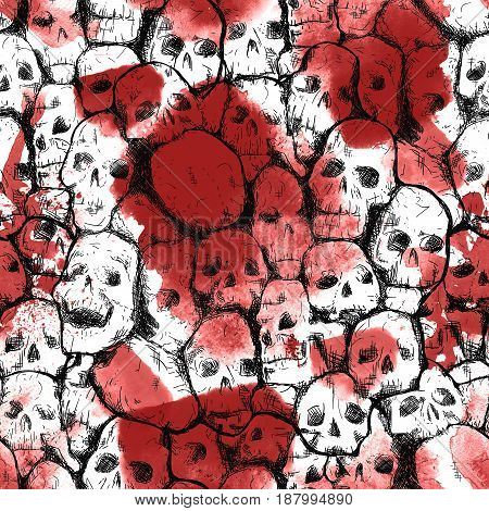 Creepy halloween card over seamless pattern with skulls. Watercolor bloody