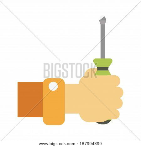 Vector illustration of hand of worker holding a screwdriver isolated on white.