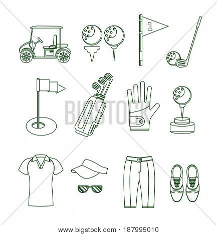 Golf Equipment Thin Line Design Style Set for Mobile and Web App. Vector illustration