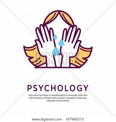 Vector illustration of crying woman with face covered with hands and psychology word.
