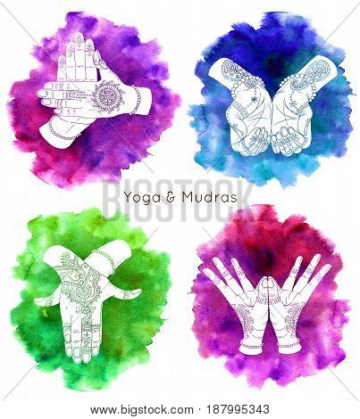 Collection with hand drawn mudras on watercolor backgrounds. Mudras with mehndi henna patterns on hands, ethnic hindu ornament