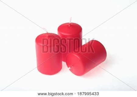 Set of colored candles isolated on white