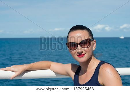 Woman With Red Lips In Sunglasses In Sunny Summer