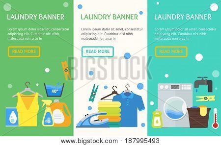 Cartoon Laundry Banner Vecrtical Set. Washing and Ironing Housework Flat Design Style Vector illustration