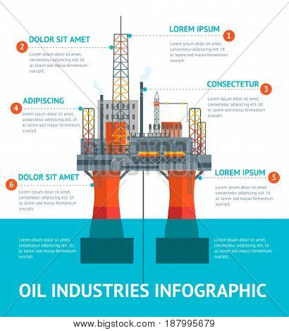 Cartoon Oil Industry Infographic Menu Drilling Platform in The Sea or Ocean Flat Design Style. Vector illustration