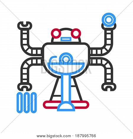 Vector illustration of futuristic robot doing different tasks at the same time.