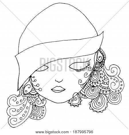 Vector young pretty girl with doodle hairs wearing hat. Fashion illustration. Uncolored image can be used as adult coloring book, coloring page, invitation, greeting card.