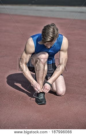 Runner, Athletic Bearded Man With Muscular Body Tie Shoe Laces