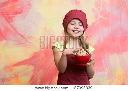 Child, Small Girl In Red Chef Hat, Apron With Chocolate Cookies