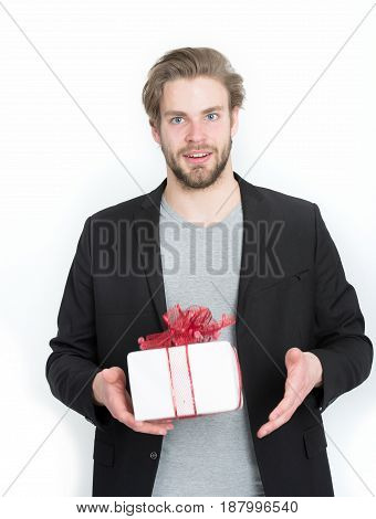 Handsome Bearded Man With Present, Gift Box In Red Ribbon