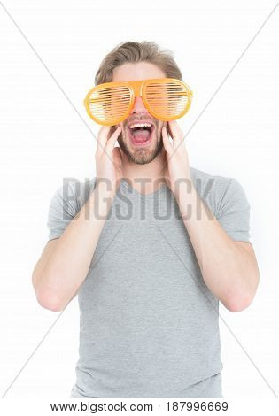 Orange Party Glasses On Funny Young Man In Casual Shirt