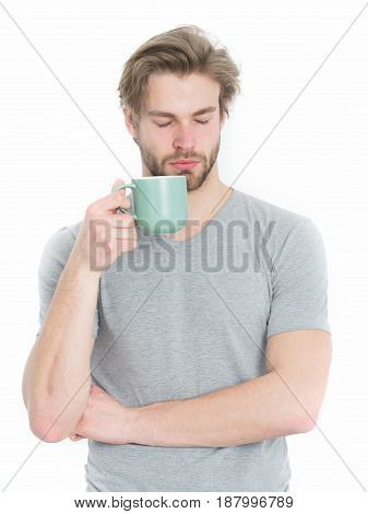 Sleepy Man With Tea Or Coffee Cop In Morning
