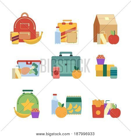 Healthy lunch in plastic box. Lunchbox for kids. Vector illustration set isolate on white background. Lunch box with drink and sandwich