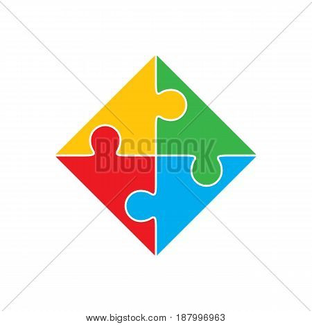 Colorful jigsaw puzzle vector, four pieces isolated