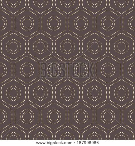 Geometric repeating ornament with golden hexagonal dotted elements. Geometric modern ornament. Seamless abstract modern pattern