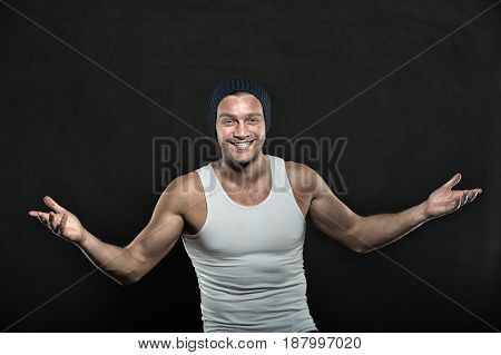 Guy Or Sexy Happy Man With Muscular Hands