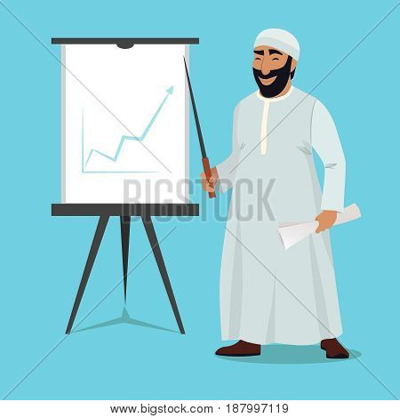 Arab businessman stand and pointing on white board. Arab presentation chart growth on white board vector illustration
