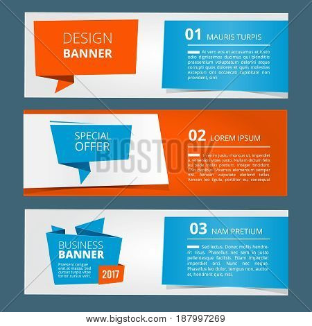 Three horizontal banners with abstract modern background and place for your text. Vector illustrations set banner template for business or presentation