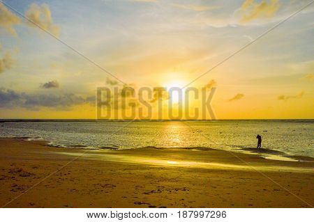 Sunset view near Nai Yang beach Phuket Thailand.