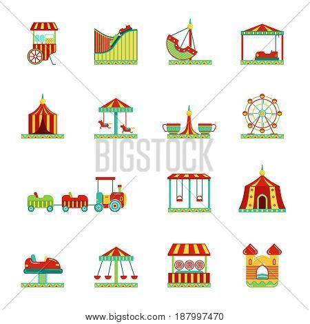 Icon set of attractions in amusement park. Circus carousel and other vector illustrations in flat style. Color attraction icons collection